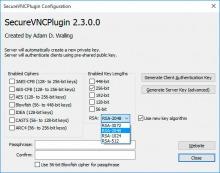 Настройки  плагина шифрования UltraVNC server